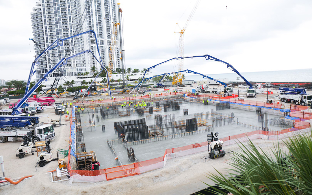 Over 1000 Concrete Trucks Line Up For Foundation Pour At Estates at Acqualina, Set To Become Tallest In Sunny Isles